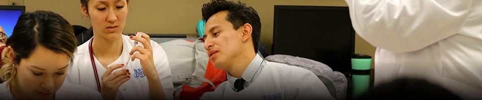 Medical lab students talking
