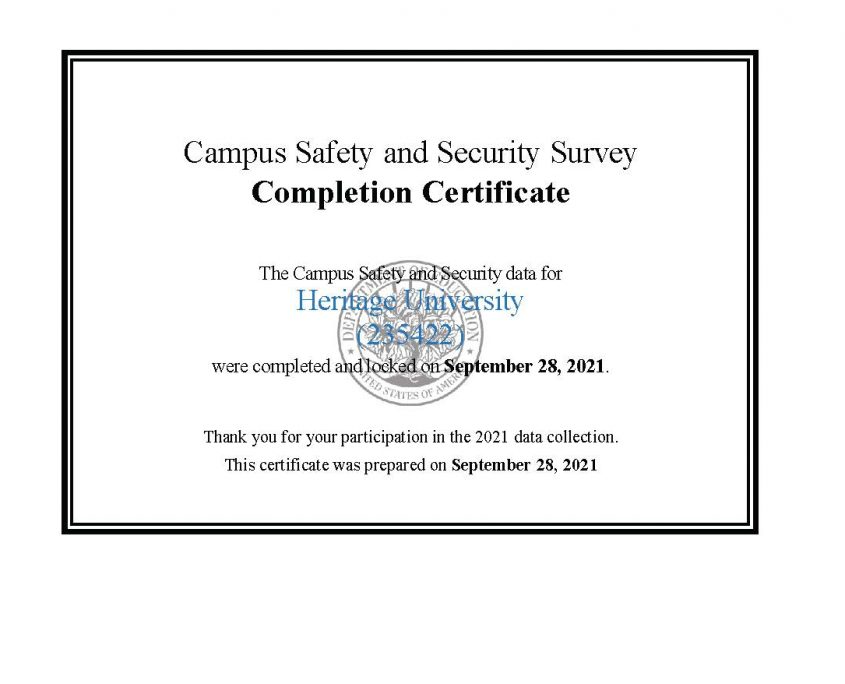 Campus Safety & Security Survey Completion Certificate thumbnail