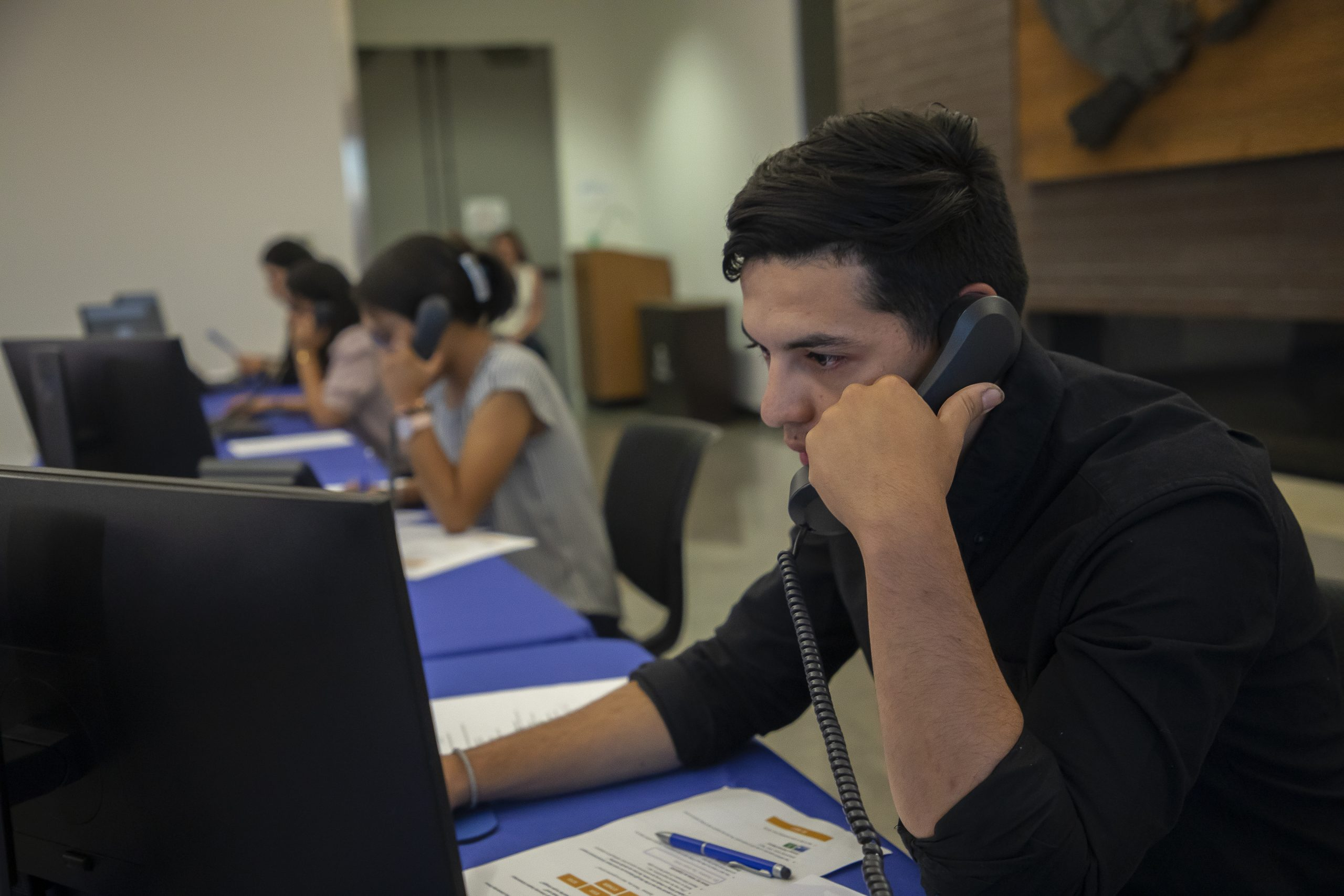 Heritage University students serve as phone operators during the Bounty of the Valley Virtual Scholarship Dinner June 5, 2021