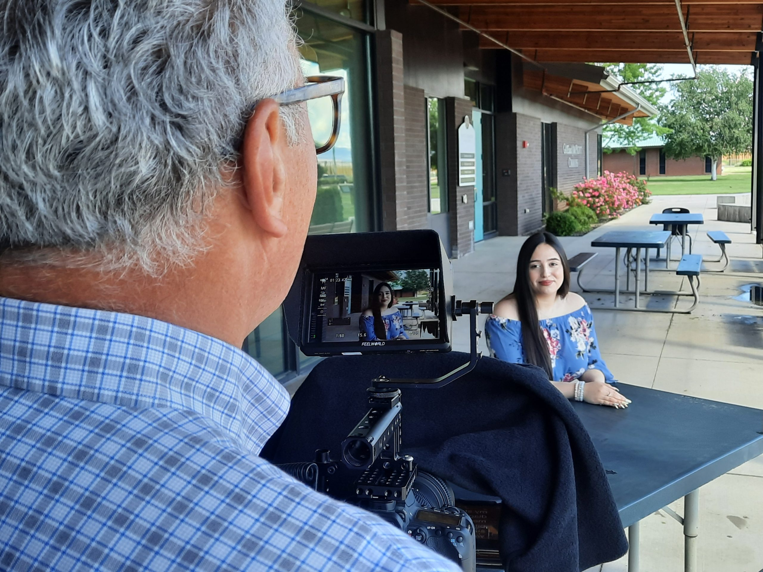 Heritage University alumni Laura Quintero pauses during taping of her student speaker segment that aired during the Bounty of the Valley Virtual Scholarship Dinner on June 5, 2021