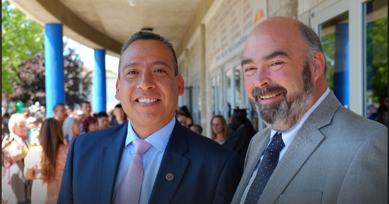In 2016 Miguel Juarez was named the Violet Lumley Rau Alumnus of the Year. He's pictured with the graduate alumnus of the year Kevin Chase.
