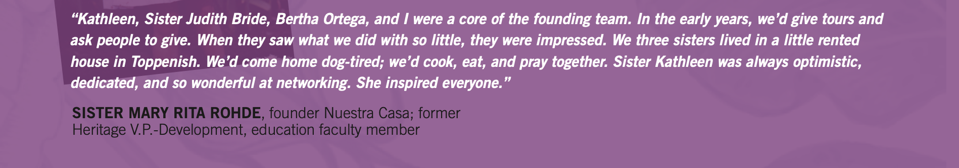 Sister Mary Rita Rohde quote for Kathleen Ross, snjm