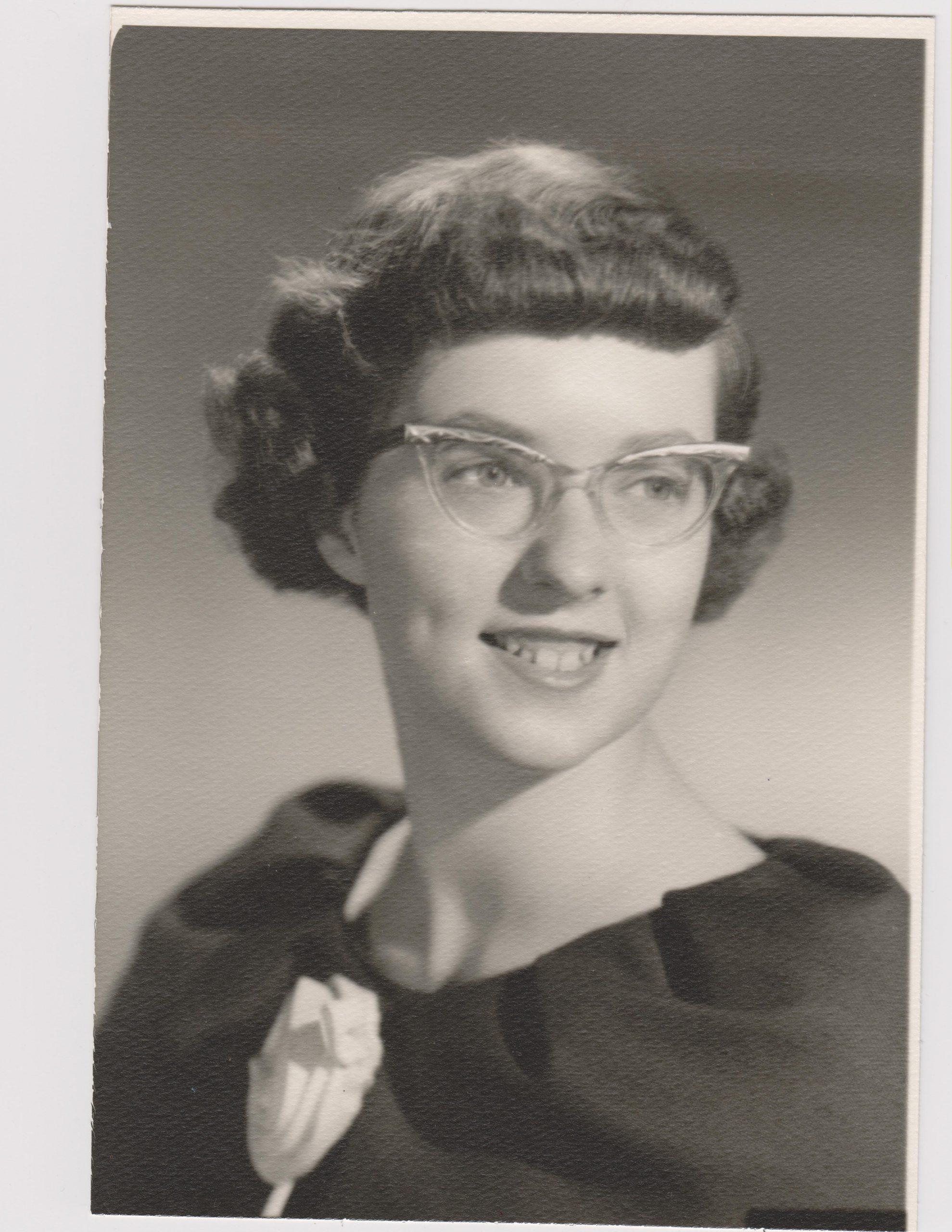 Kathleen Ross, snjm as a junior in high school, 1957